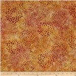 0290086 Artisan Batik Asian Legacy 3 Geo Flowers Saffron Orange
