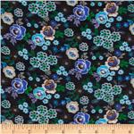 0270926 Jonquil Shirting Garden Royal/Black/Green