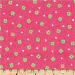 Flannel Novelties Tiny Squares and Dots Pink