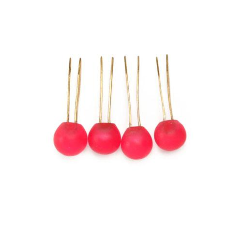 Tiny Matte Resin Ball Handbag Feet Rouge Red 4/pkg