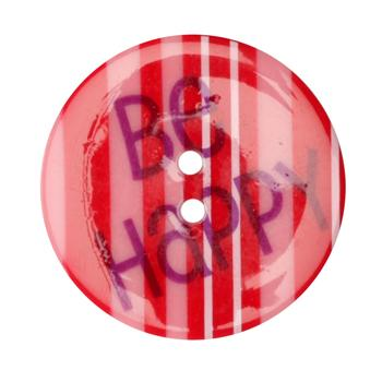 Novelty B utton 1-3/8''  Be Happy Pink