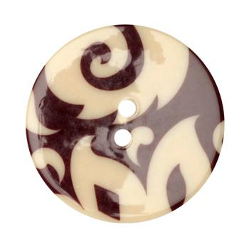 Fashion Button 1-3/8'' Damask Cream/Burgundy