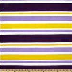 Stretch ITY Jersey Knit Stripes Purple/Yellow