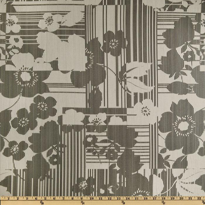 Designer Cotton Lawn Floral Stripe Grey/Black