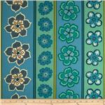 Modern Mix Pop Floral Border Stripe Caribe/Sage