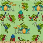FT-528 Comfy Flannel Music Frogs Green