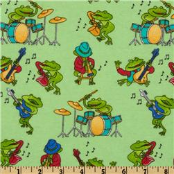 Comfy Flannel Music Frogs Green