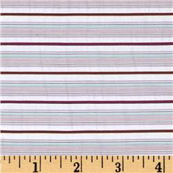 Nylon Blend Shirting Stripes Berry