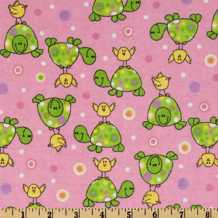 Comfy Flannel Turtle &amp; Bird Pink