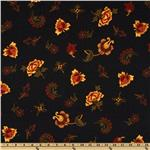 FL-812 Spice Market Flannel Tossed Florals Black