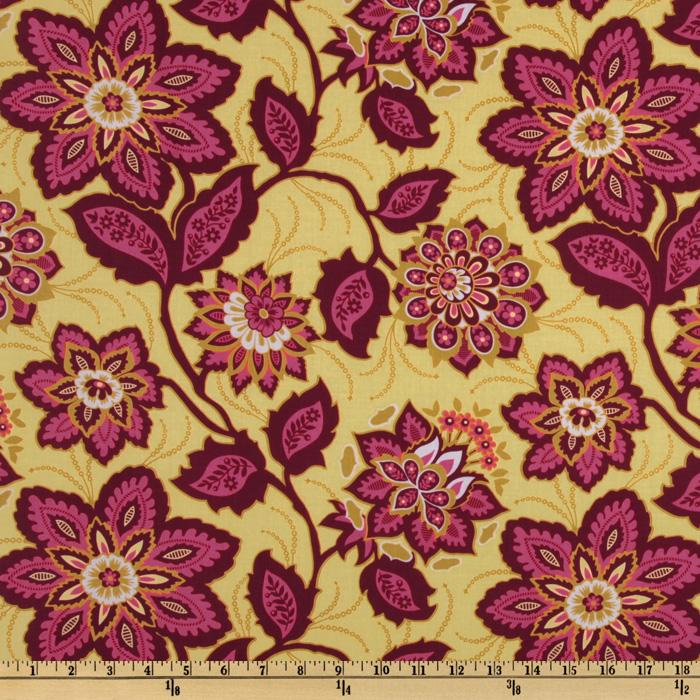 Heirloom Voile Ornate Floral Garnet