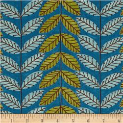 Moda Family Tree Leaf Stripe Sky Blue