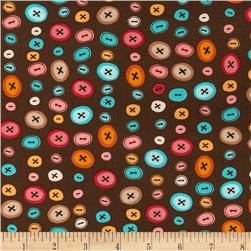 Stitchy Witchy Buttons Brown
