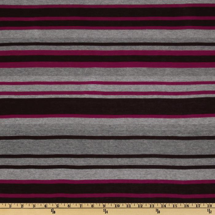 Designer Stretch Rayon Tissue Jersey Knit Stripes Plum