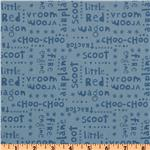 FB-370 Riley Blake Scoot Words Tonal Blue
