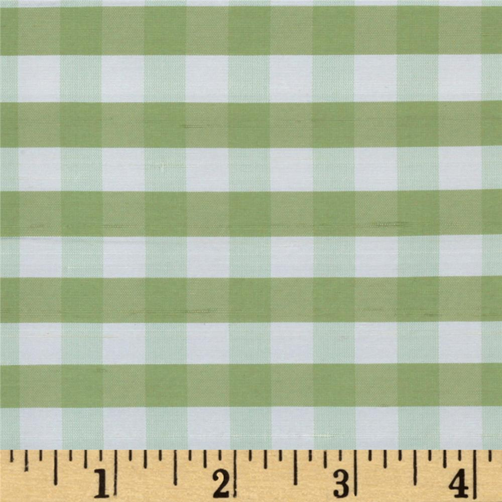 Dupioni Silk Fabric Small Check Kiwi/White