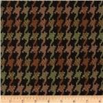 Wool Blend Coating Houndstooth Brown/Green