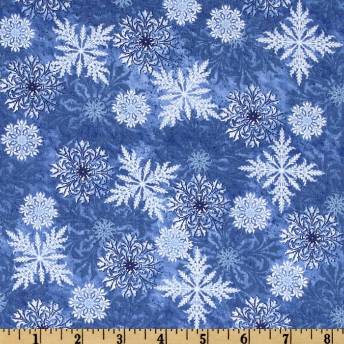 Timeless Treasures Winter Wonderland Snow Navy