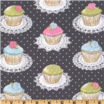 Michael Miller It's A Girl Thing Quaint Cupcakes Gray