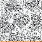 Exclusively Quilters Night and Day Heart Swirls White/Black