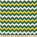 Riley Blake Wide Cut Chevron Medium Green/Gold