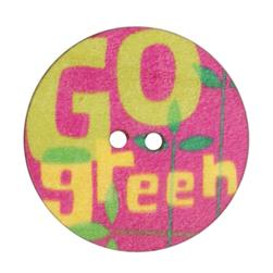 Novelty Wood Button 1 3/8'' Go Green Fuchsia