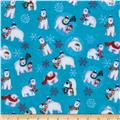 Winter Magic Flannel Polar Bears Sky Blue