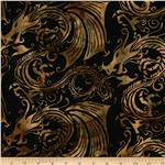 0288531 Bali Batiks Dragons Antique Black