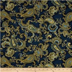 Timeless Treasures Majesty Metallic Paisley Navy