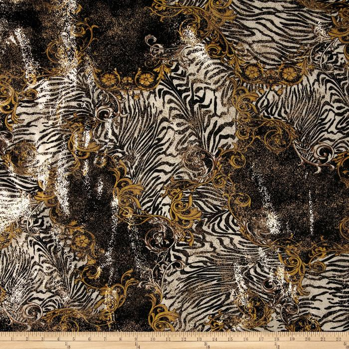 Safari Shimmer Stretch ITY Knit Flourish Tiger Black/Gold