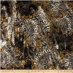 0265286 Safari Shimmer Stretch ITY Knit Flourish Tiger Black/Gold