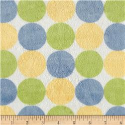 Minky Random Multi Polka Dots Sage/Blue/Yellow