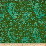 Indian Batik Feather Green/Aqua