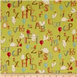 0273579 Moda Mind Your P's & Q's ABC Critters Chartreuse
