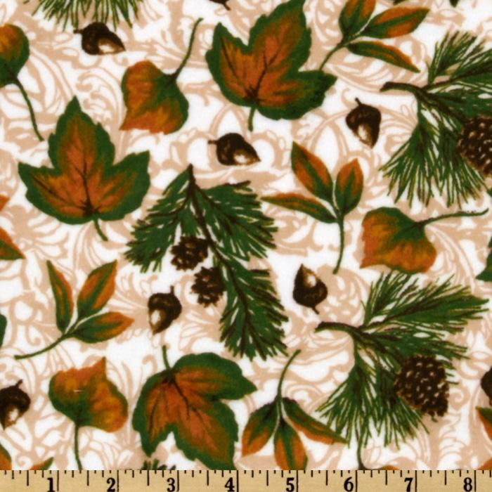 Kaufman Minky Cuddle Pine Ridge Maple Leaf Ivory