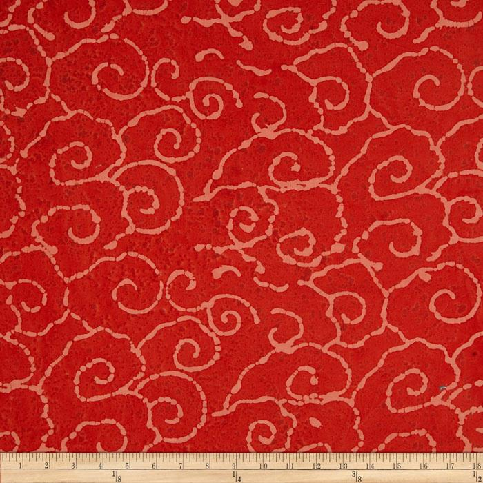 Indian Batik Swirl Coral