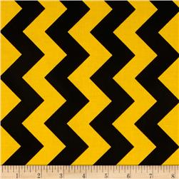 Riley Blake Medium Chevron Black/Gold