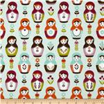 0271725 Riley Blake Little Matryoshka Dolls Aqua