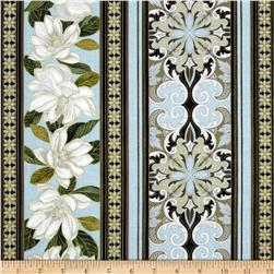 Kanvas Southern Charm Metallic Magnolia Stripe Powder Blue