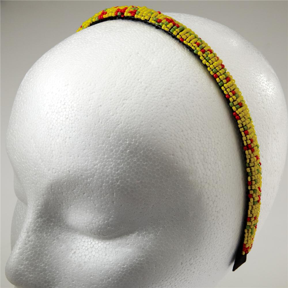 1/2'' Seed Bead Headband Yellow/Multi