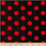 0296576 Stretch ITY Jersey Knits Large Dots Black/Red