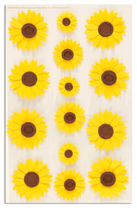 Martha Stewart Crafts Stickers Sunflower Glossary Yellow