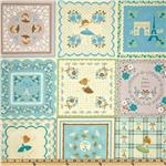 FK-672 Kokka Trefle Cotton/Linen Canvas Ballerina Patchwork Blue