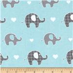 Alpine Flannel Elephant Blue