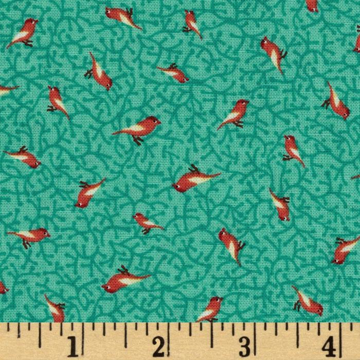 Moda Birds &amp;  Berries Tiny Birds Aqua