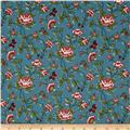 Quilts of Florence Peto Series Rustic Floral Vines & Butterflies Blue