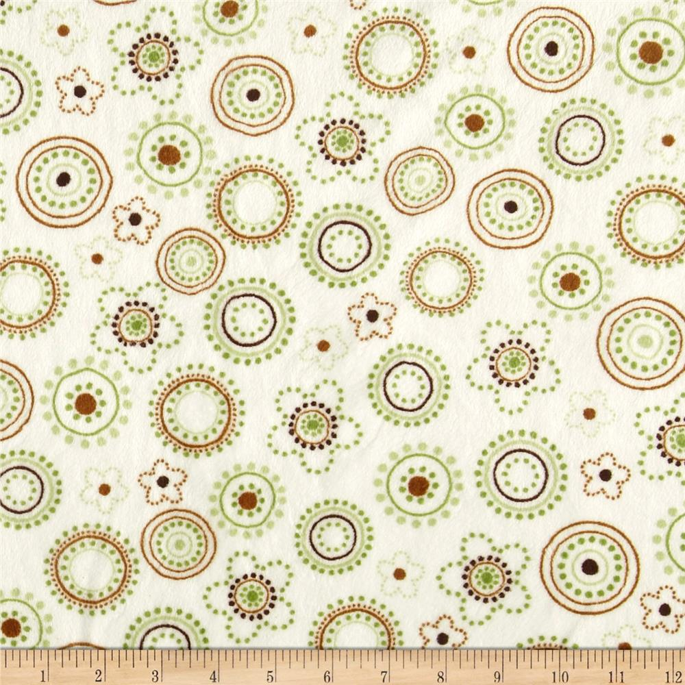 Minky Cuddle Floral Dots Olive/Brown