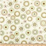 0283701 Minky Cuddle Floral Dots Olive/Brown