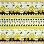 0273444 Bee Happy Bee Border Stripe White/Yellow