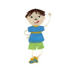 Boy Doll Applique Blue